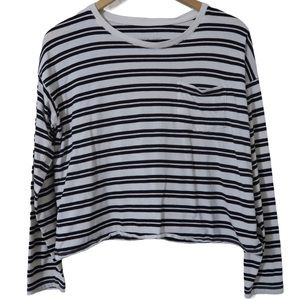 Everlane Striped Long Sleeve Top Black and White Chest Pocket Cotton Lightweight
